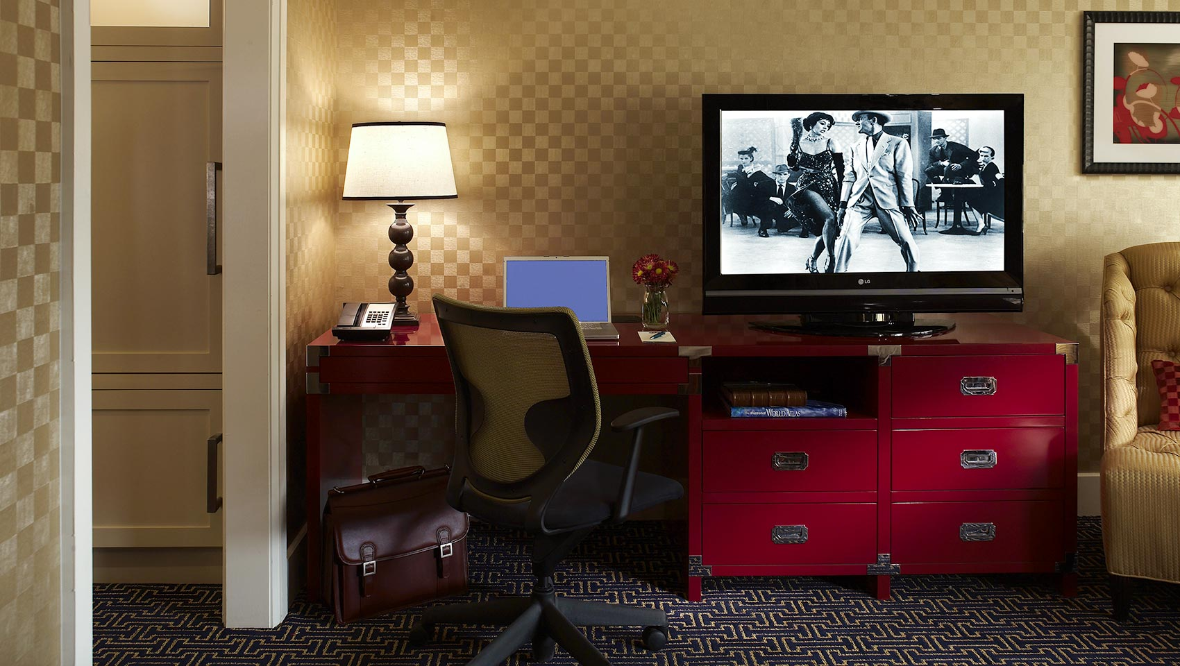 Guest Room Desk And Tv Area