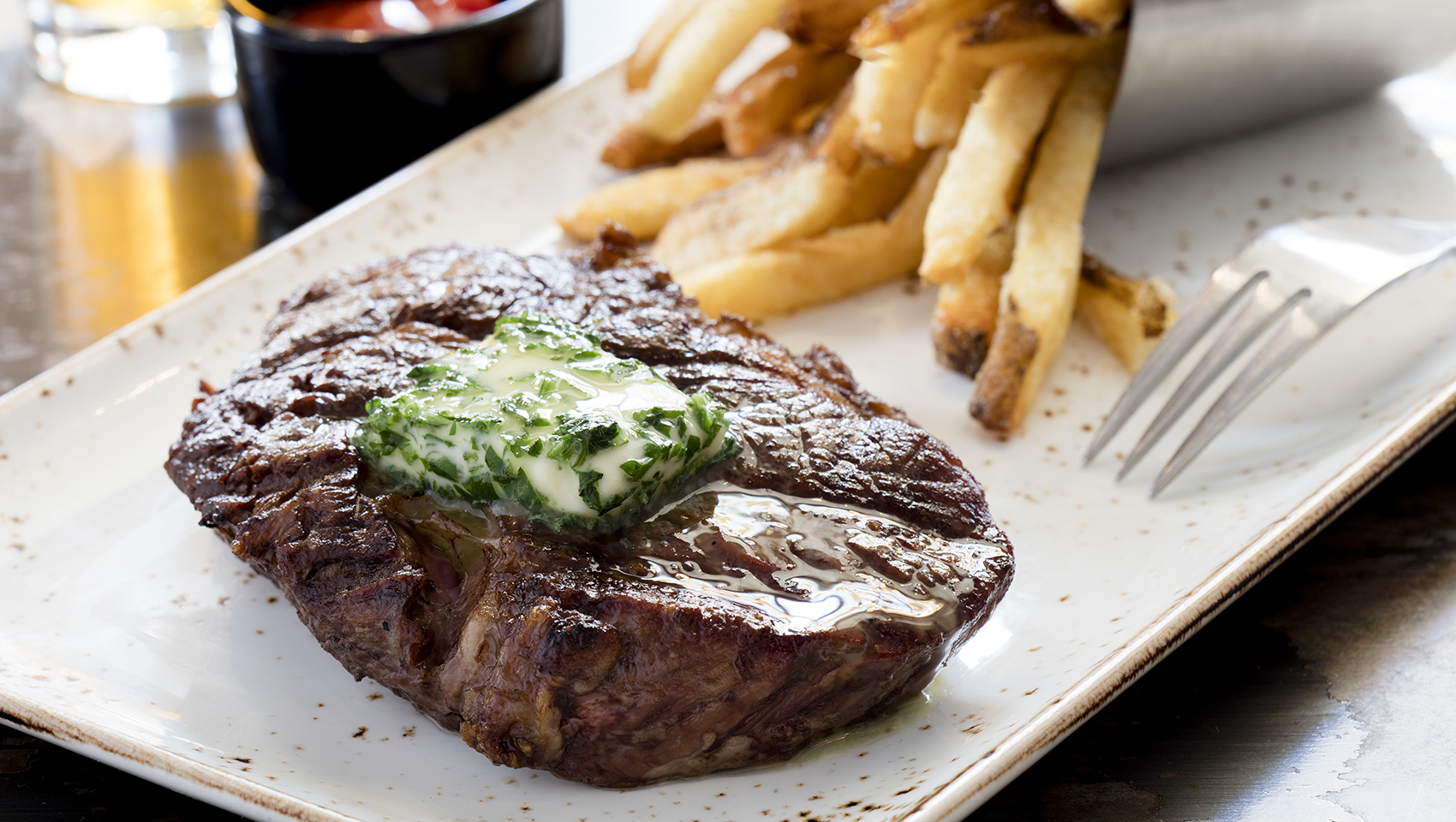 Steak Frites and fries at B & O Brasserie
